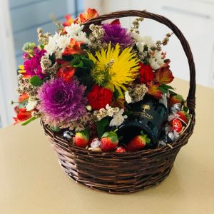 Gift Basket of Flowers, Wine, Chocolates and Strawberries