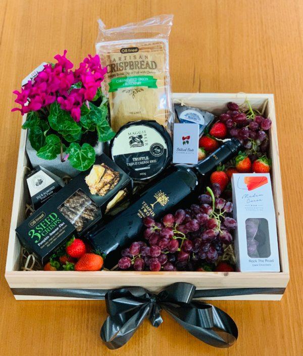 Plant, Wine, Cheese and Cracker Gift Box