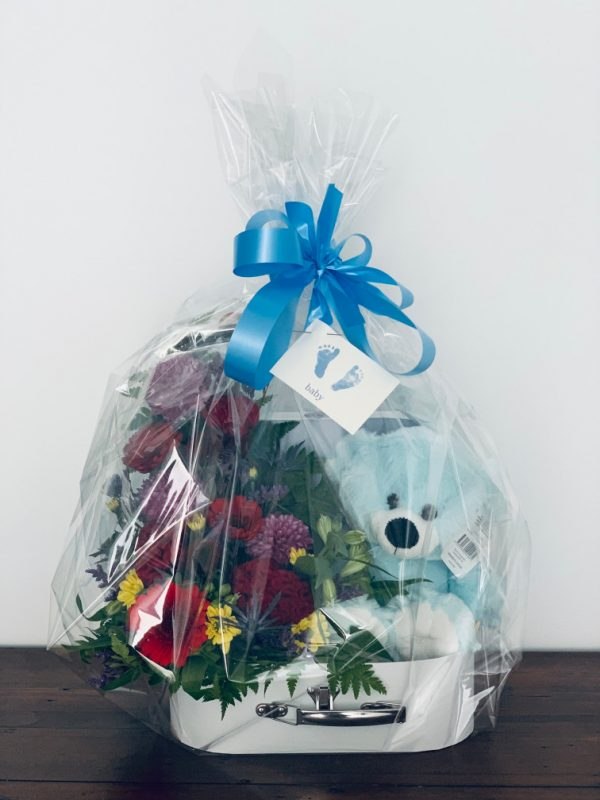 Flower Teddy Suitcase wrapped
