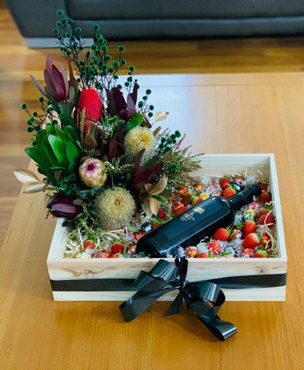 Flowers, Chocolates, Wine and Strawberries Gift Box