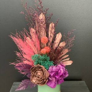 Colourful Wooden Flower Dried Arrangement