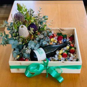 Flowers Champagne Chocolates and Strawberries Box