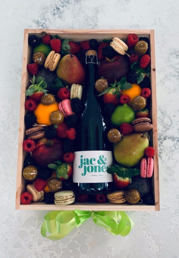 Champagne Chocolates Macarons and Fruit Gift Box